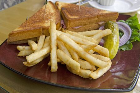 Grilled ham and cheese sandwhich with french fries
