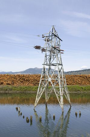 lumber mill: Large high tension metal electrical tower in a log pond at a lumber mill in the Columbia River Gorge Stock Photo
