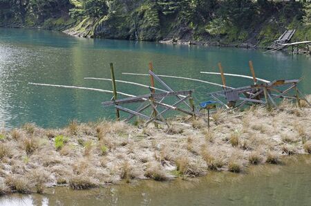Fishing equipment in Drano Lake along the Columbia River in the scenic gorge area on the Washington side.