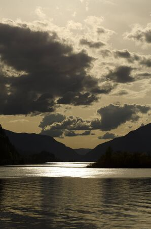 Looking down the Columbia River at sunset from Hood River Oregon