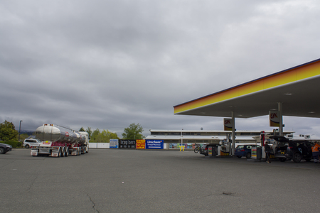 Shell Gas Station area in New Zealand. Cars
