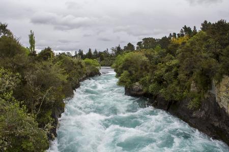 Huka falls strong current, powerful force, Waikato River, New Zealand