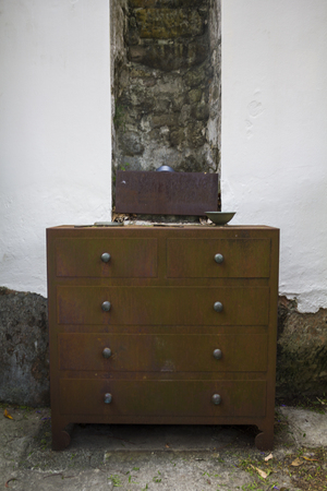 Chest of drawers, part of the steel furniture which decorate the Foundation Park in the Rocks, Sydney Banco de Imagens