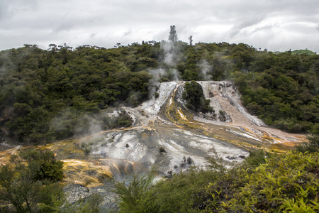 Geothermal Rainbow and Cascade Terrace, hot springs and steam rising, New Zealand