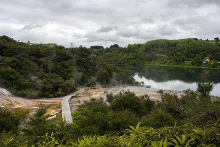 Beautiful Geothermal landscape with hot springs and Waikato river in New Zealand Stock Photo