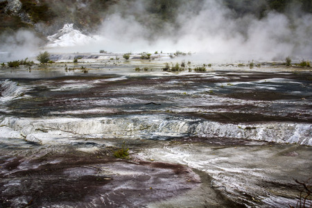 Geothermal activity, terrace and steam rising, Orakei Korako park, New Zealand