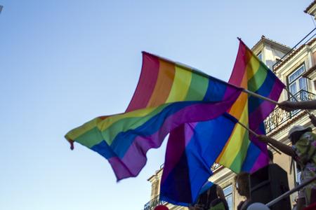 People waving LGBT rainbow pride flags