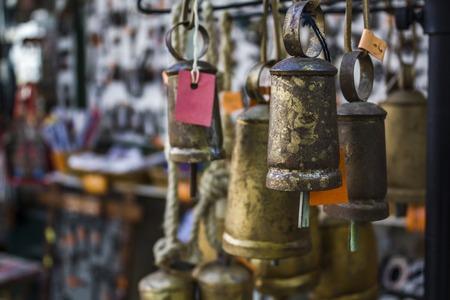Bells for sale in souvenir shop