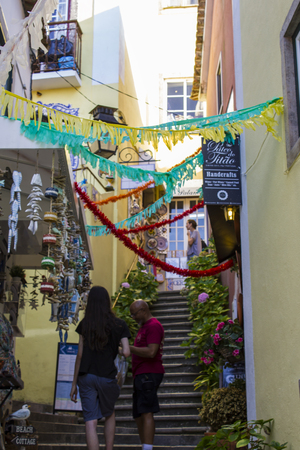 Sintra, Portugal - Circa, September 2018: Decorated street in the beautiful village of Sintra Editorial