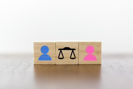 Konzept Gleichberechtigung zwischen Mann und Frau