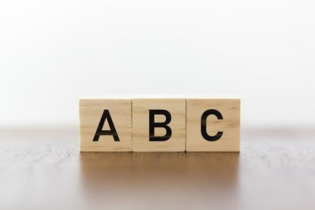 ABC written on wooden cubes 版權商用圖片