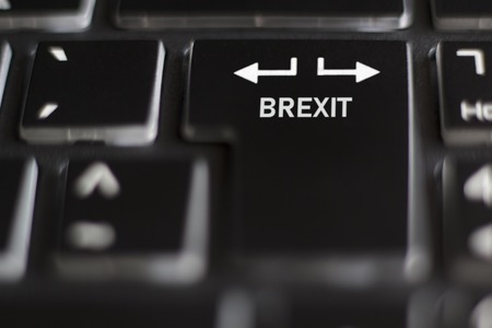Brexit on computer Keyboard Deal or no deal concept Stock Photo