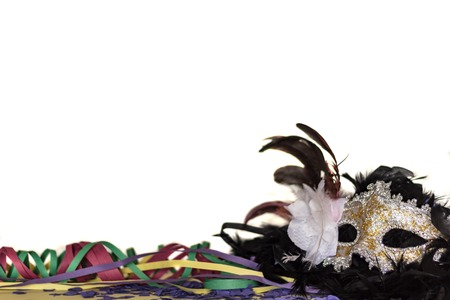Carnival Mask, Streamers And Confetti against white background