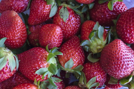 Top view of pile of strawberries