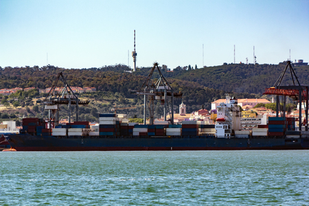 Cargo ship carrying container box for import and export business