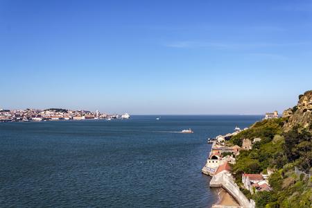 Aerial view of Lisbon, river and Lisbon south bay Banco de Imagens