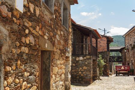 Schist village in Potugal with typical schist houses