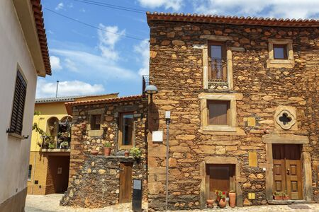 Schist village houses in Portugal Stock Photo