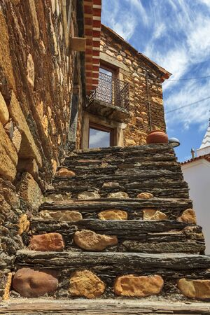 Stairs of a typical schist house in Portugal