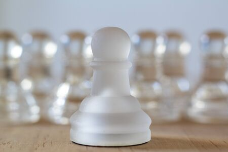 Group of chess pawns. Teamwork, business strategy and competition concept