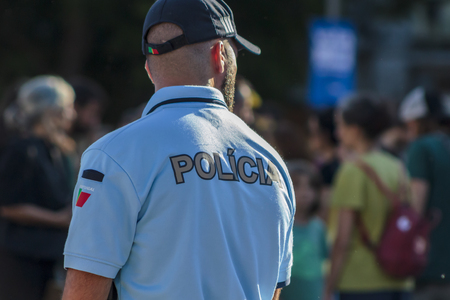 Police officer on duty on city centre