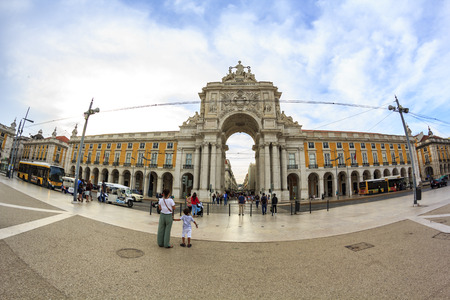 Triumphal arch on the Commerce square in Lisbon