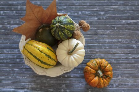 Top view of bowl with pumpkins and autumnal leaves on blue background Фото со стока