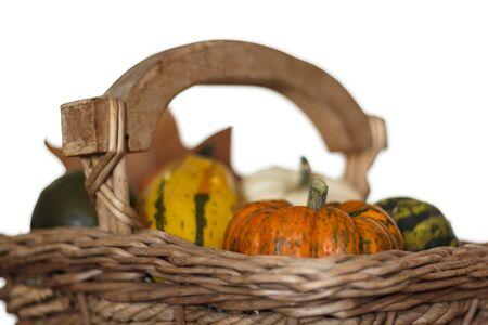 Variety of pumpkins on wicker basket