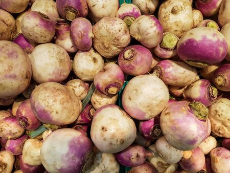 Top view of pile of turnips