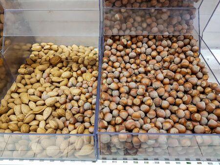 Hazelnuts and almonds Stok Fotoğraf