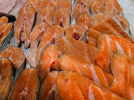 Fresh raw salmon steak for sale