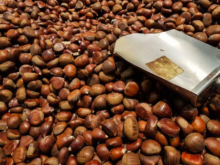Pile of Chestnuts and shovel
