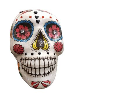 Day of The Dead colorful skull isolated on white background with copy space Stok Fotoğraf