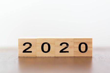 2020 New year. Wooden cubes on wooden table with copy space Stok Fotoğraf