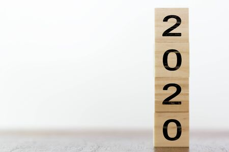 New year 2020 on wooden cubes with copy space. New years concept Stok Fotoğraf