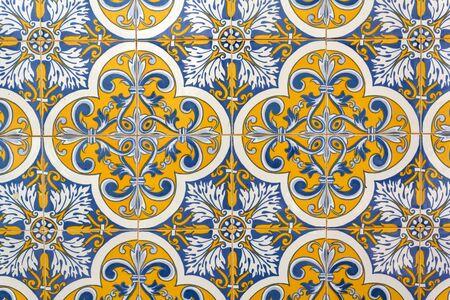 Portuguese tiles background, pattern. Stok Fotoğraf