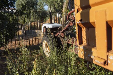 Tractor at the farm gate