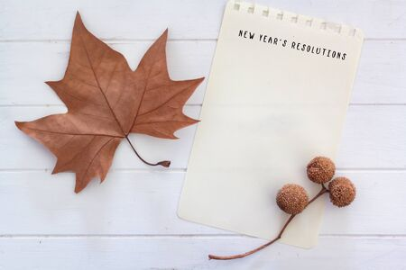 Top view of dry leaf, sycamore balls and blank page with New Years resolution text. Winter composition, new year concept