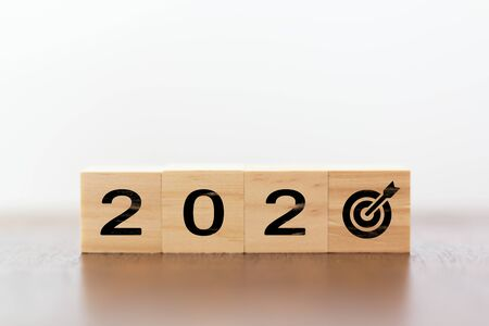2020 with target instead of zero. Successful strategy concept Stok Fotoğraf