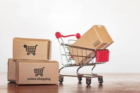 Shopping with cartons Stok Fotoğraf