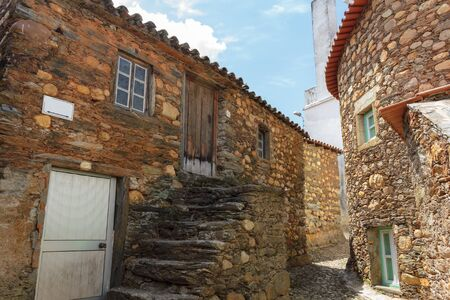 Typical street at Janeiro de Cima, a schist village in Portugal Stock Photo