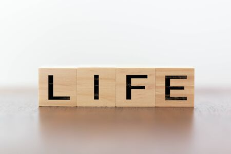 Life word wriiten on wooden cubes Imagens
