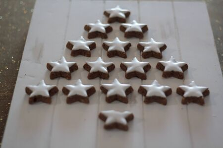 Star-shaped cookies forming a Christmas tree 写真素材