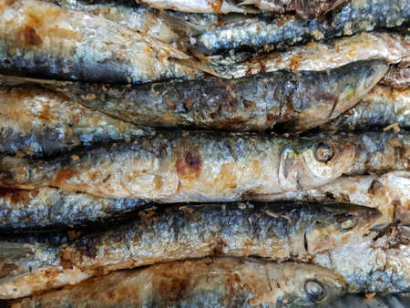 Top view of delicious grilled sardines