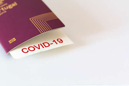 Passport and covid-19 note. Concept of Traveling during coronavirus, covid-19 pandemic