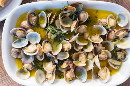 Top view of delicious cooked Clams