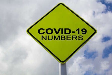 Yellow Sign with Covid-19 text