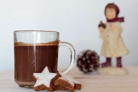Hot chocolate and cookies with pine cone and winter doll on the background. Winter concept 写真素材