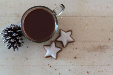 Top view of cup with hot chocolate, cookies and pine cone with copy space