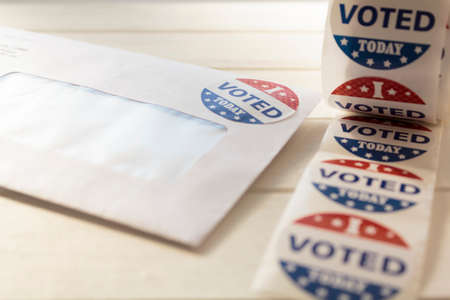 Vote by Mail Ballot envelope for presidential election and I voted stickers